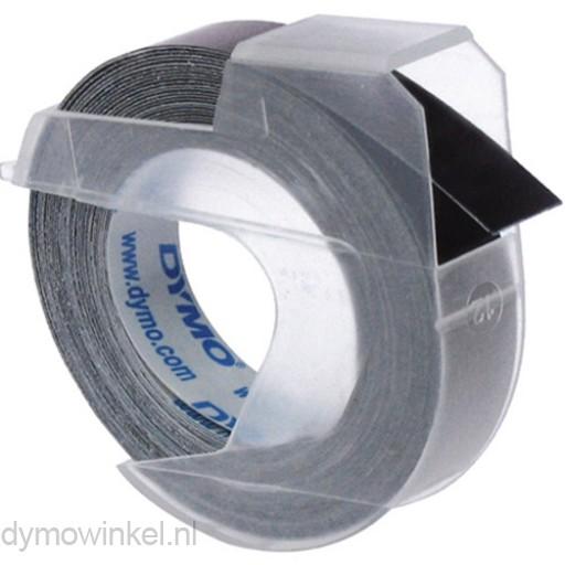 Dymo 3D reliëftape, wit op zwart, 9mm x 3 m, doos van 10 rol