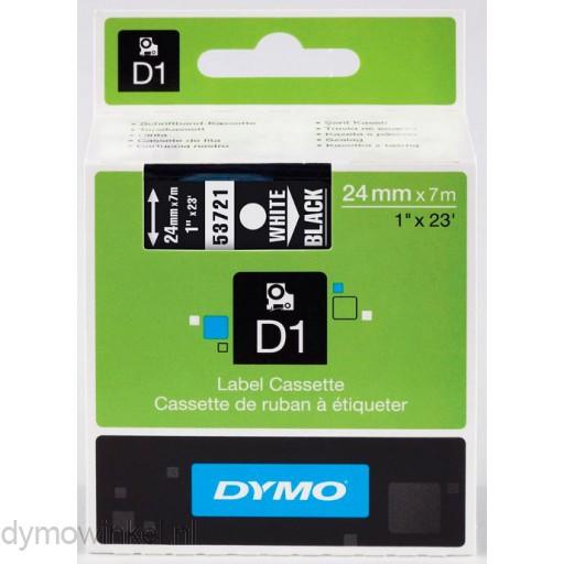 Dymo 53721 D1 Tape 24mm x 7m wit op zwart