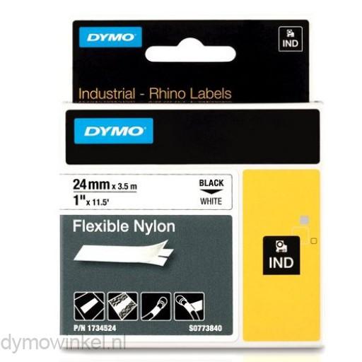 Dymo 1734524 RHINO flexibele nylontape zwart op wit 24mm