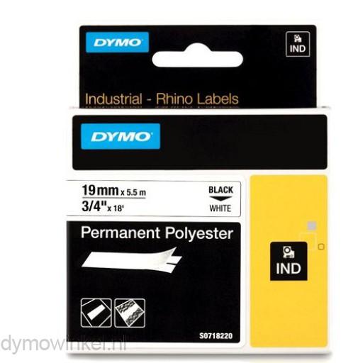 Dymo 18484 RHINO Permanente Polyester Tape zwart op wit 19mm