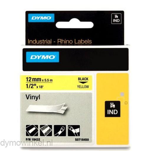 Dymo RHINO 18432 Gekleurd Vinyl zwart op geel 12mm