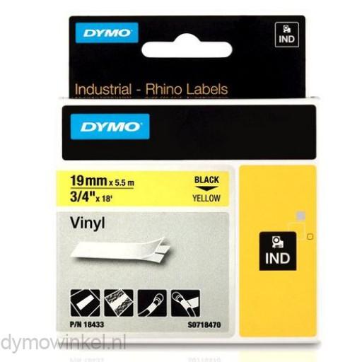 Dymo RHINO 18433 Gekleurd Vinyl zwart op geel 19mm