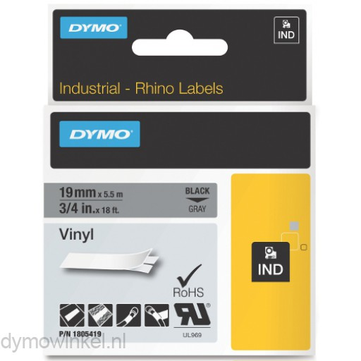 Dymo RHINO 1805419 vinyl zwart op grijs 19mm