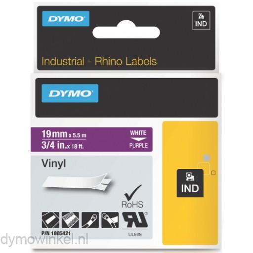 Dymo RHINO 1805421 vinyl wit op paars 19mm