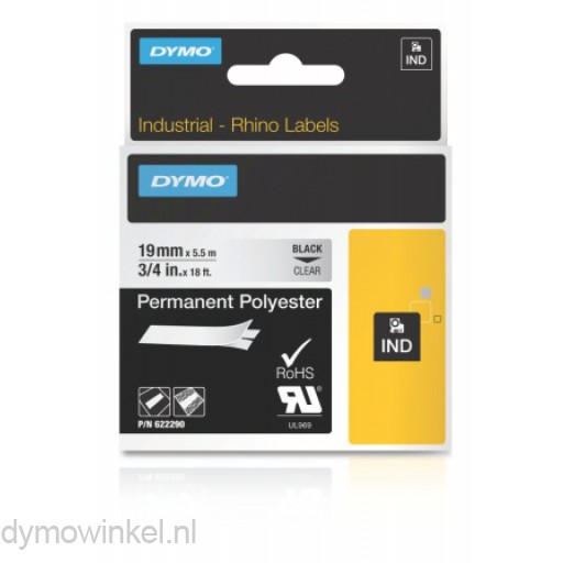 Dymo 622290 RHINO permanent polyester zwart op transparant 19mm
