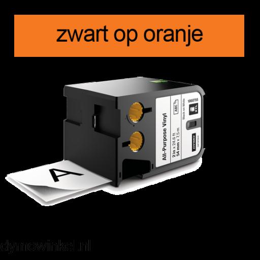 DYMO 1868770 XTL universele vinyl tape 54mm zwart op oranje