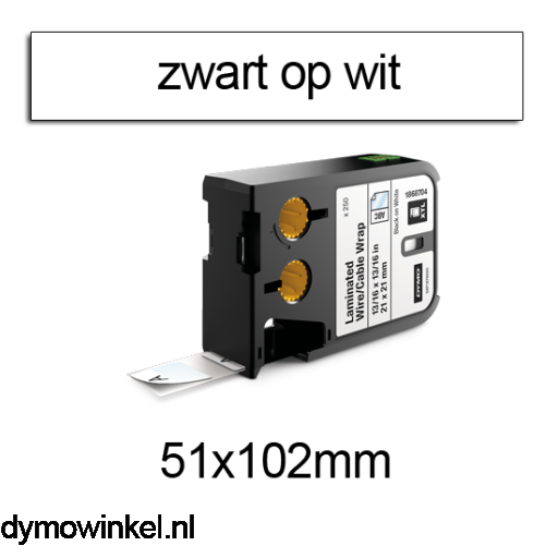 DYMO 1868712 XTL kabelwikkel 51x102mm zwart op wit
