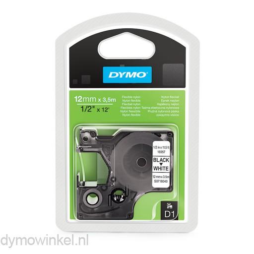 Dymo 16957 D1 Flexibele Nylon Tape 12mm zwart op wit