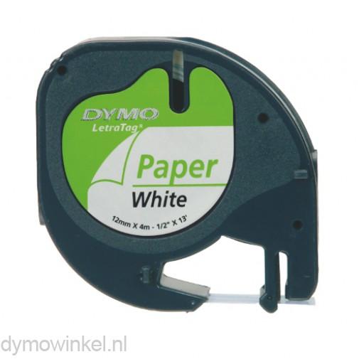 Dymo 91200 LetraTag papieren tape zwart op wit 12mm