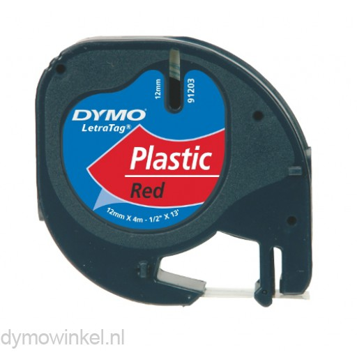 Dymo 91203 LetraTag plastic tape zwart op rood 12mm