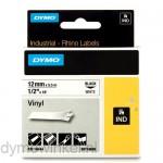 Dymo RHINO 18444 Gekleurd Vinyl zwart op wit 12mm