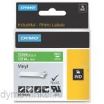 Dymo RHINO 1805414 vinyl wit op groen 12mm