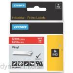 Dymo RHINO 1805416 vinyl wit op rood 12mm