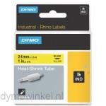 Dymo RHINO 1805444 krimpkous zwart op geel 24mm