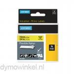 Dymo RHINO 18491 flexibele nylontape zwart op geel 19mm