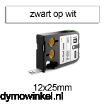 DYMO 1868666 XTL Label 12x25mm zwart op wit