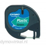 Dymo 91204 LetraTag plastic tape zwart op groen 12mm