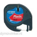 Dymo 91203 LetraTag plastic tape zwart op rood 12mm