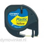 Dymo 91202 LetraTag plastic tape zwart op geel 12mm