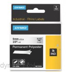 Dymo RHINO 18508 Permanente Polyester Tape zwart op transparant 9mm
