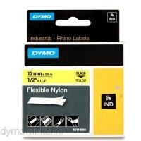 Dymo RHINO 18490 flexibele nylontape zwart op geel 12mm