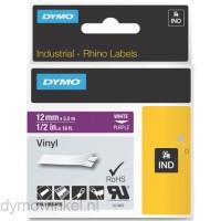 Dymo RHINO 1805415 vinyl wit op paars 12mm