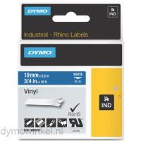 Dymo RHINO 1805417 vinyl wit op blauw 19mm