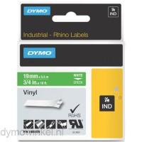 Dymo RHINO 1805420 vinyl wit op groen 19mm