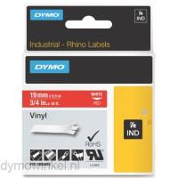 Dymo RHINO 1805422 vinyl wit op rood 19mm