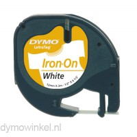 Dymo 18769 LetraTag opstrijkbare tape zwart op wit 12mm