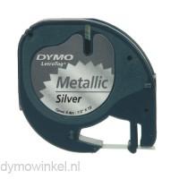 Dymo 91208 LetraTag plastic tape zwart op metallic grijs 12mm