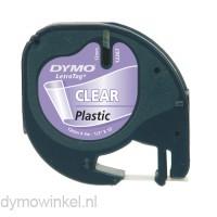 LetraTag zwart op transparant plastic tape 12267