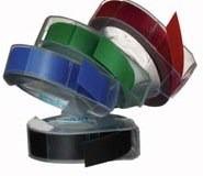 Dymo levert reliëf tape in vier verschillende kleuren.
